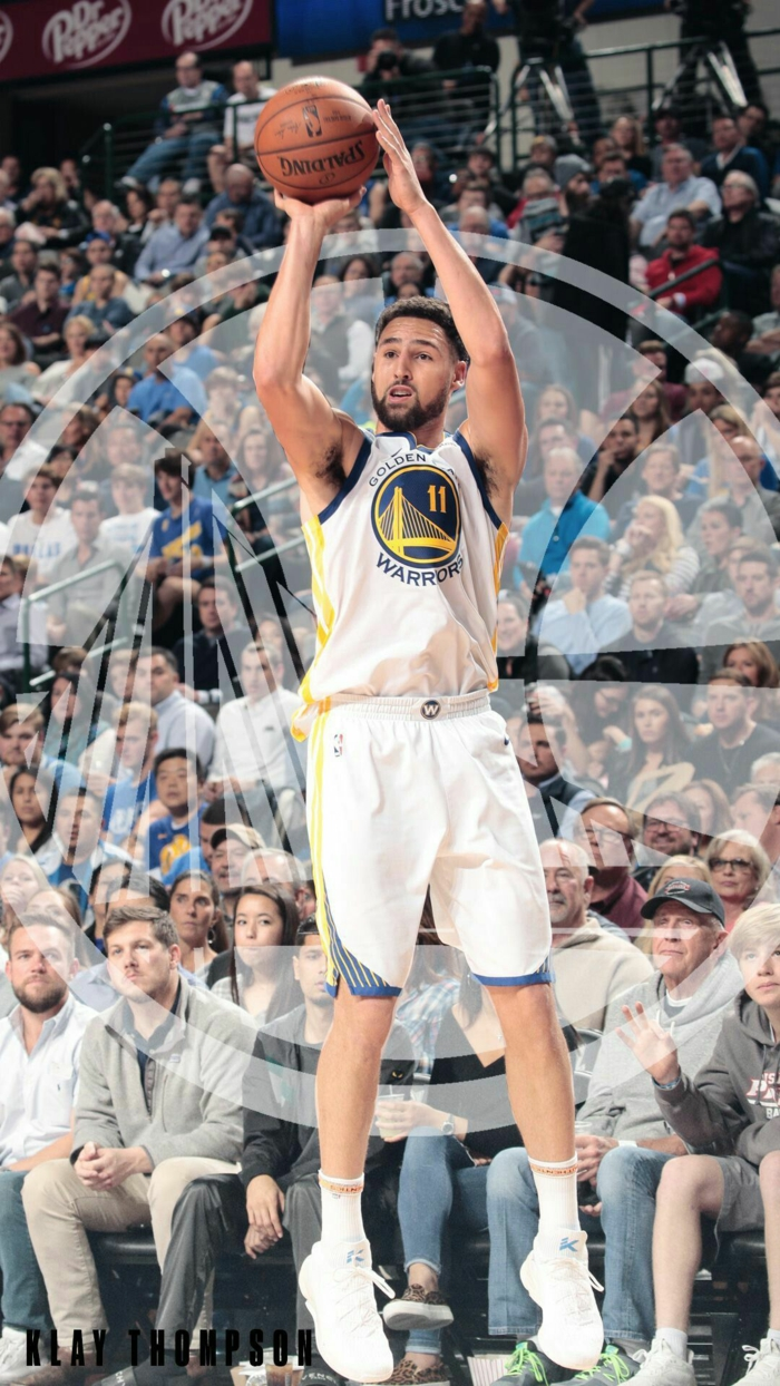 klay thompson, photographed mid jump shot, nike basketball wallpaper, wearing golden state warriors uniform