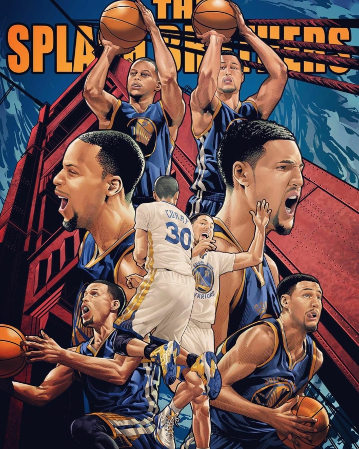the splash brothers, nike basketball wallpaper, stephen curry and klay thompson, photo collage