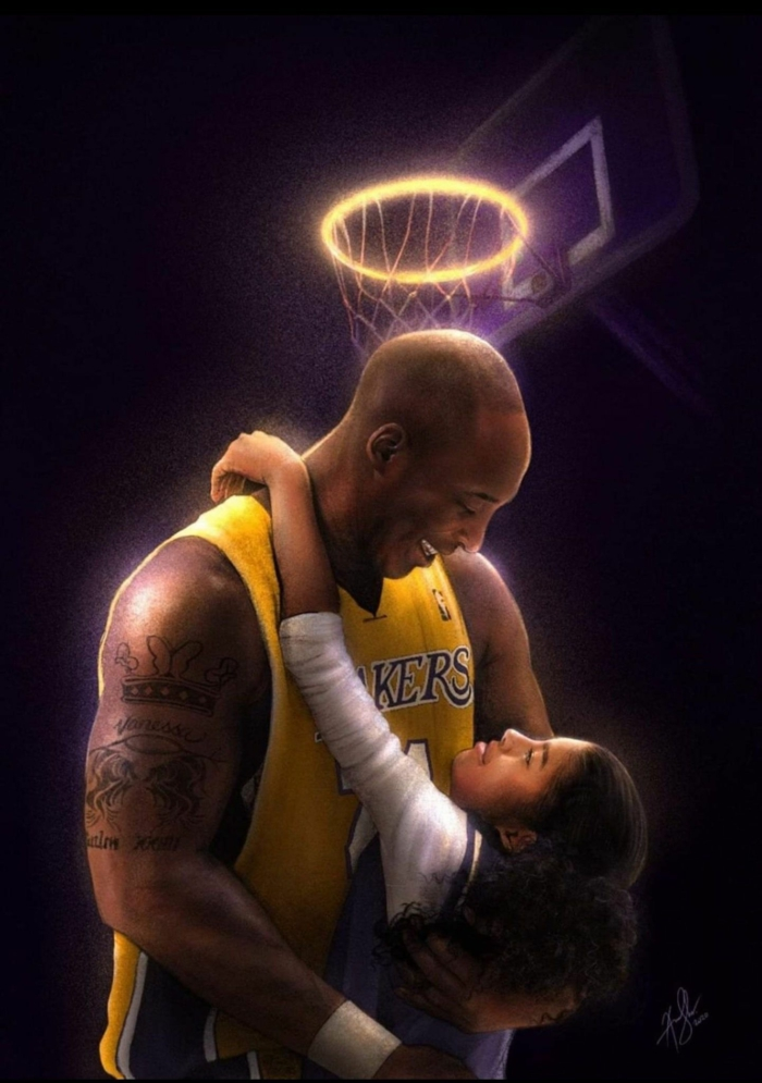 gigi and kobe bryant, hugging each other, nike basketball wallpaper, poster with dark background