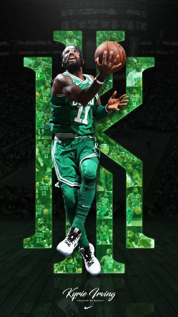 kyrie irving, wearing boston celtics uniform, pictures of basketball players, holding a ball, wearing face mask