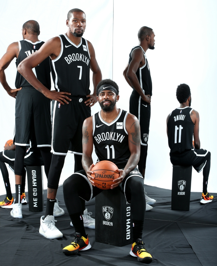kyrie irving and kevin durant, pictures of basketball players, wearing brooklyn nets uniforms