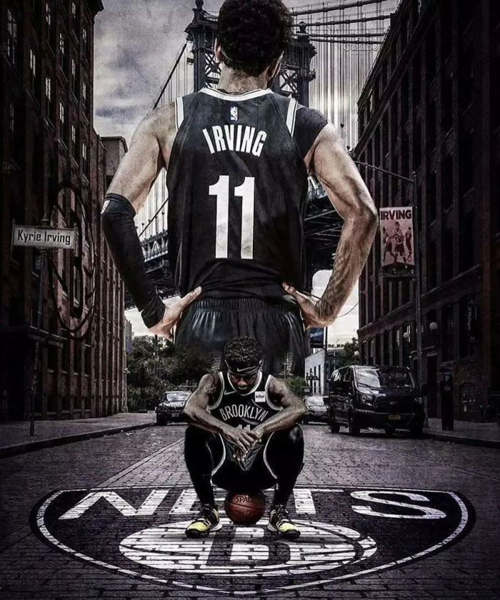 kyrie irving, wearing brooklyn nets uniform, pictures of basketball players, photo edit, brooklyn bridge in the background