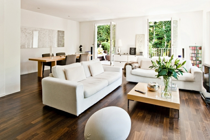 white sofa, dark wooden floor, beautiful living room ideas, wooden coffee table, open plan dining room and living room
