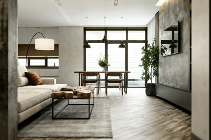 wooden floor with grey carpet, formal living room ideas, open plan space with living room and dining room