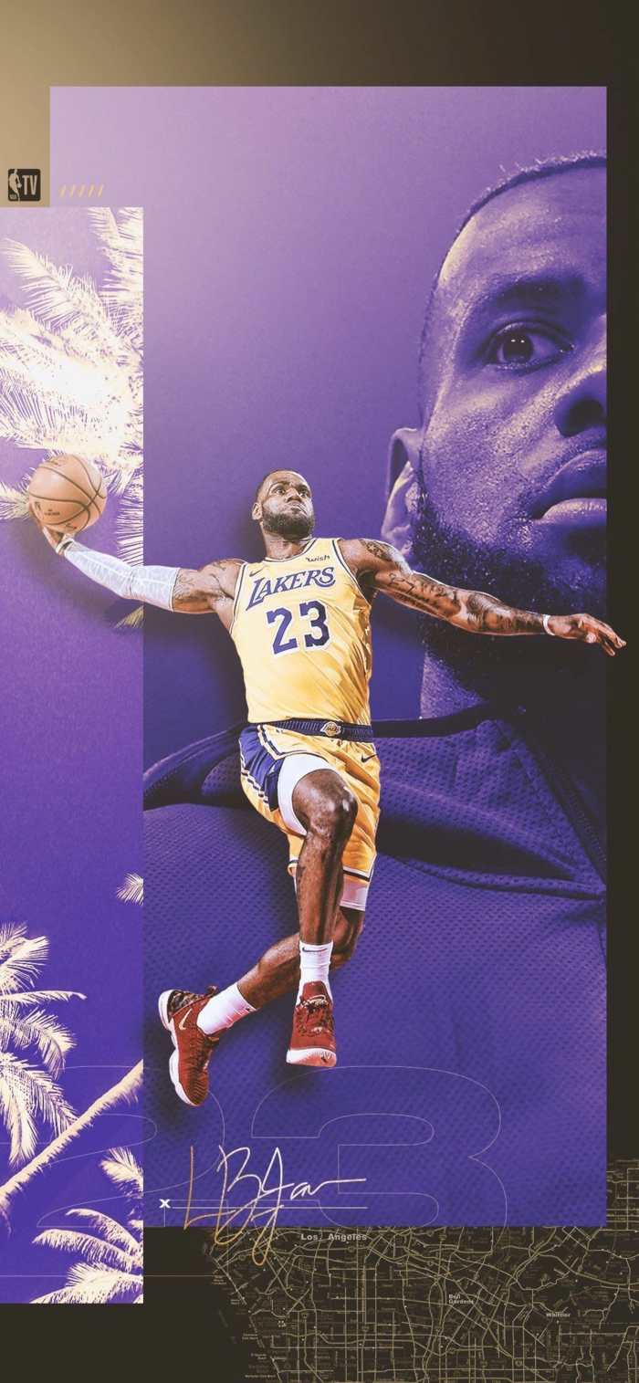 lebron james, wearing los angeles lakers uniform, nba wallpaper, mid air dunking the ball