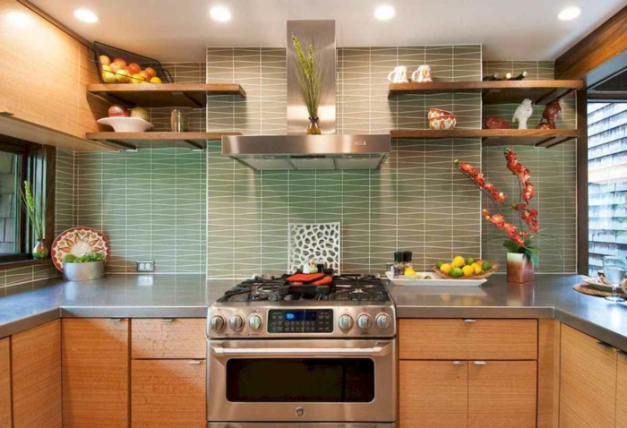 light grey tiles backsplash, modern kitchen cabinets colors, wooden cabinets with grey countertops, open shelving