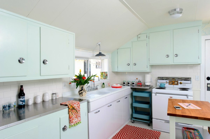 light blue pastel cabinets, small kitchen island with wooden countertop, modern kitchen cabinets colors