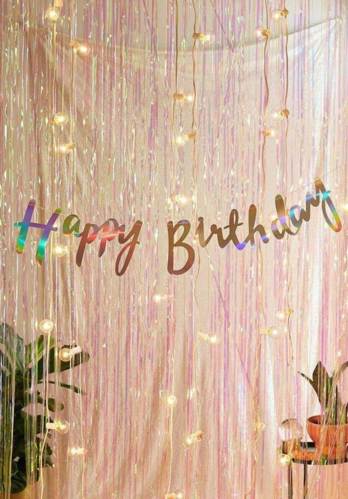 happy birthday banner, 18th birthday party ideas, strings of lights hanging on the wall