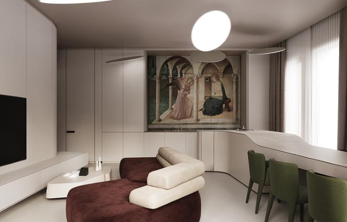 white walls with artwork on them, home decor ideas for living room, dark burgundy velvet sofa, green chairs
