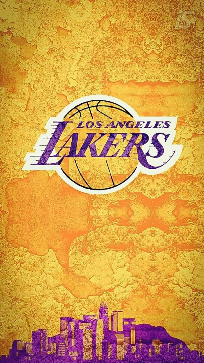 purple and gold poster, los angeles lakers logo, best basketball wallpapers, city skyline on the bottom