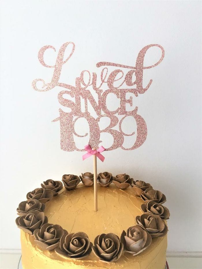 loved since 1939 rose gold glitter cake topper, 80th birthday party decorations, one tier cake with brown rose decorations
