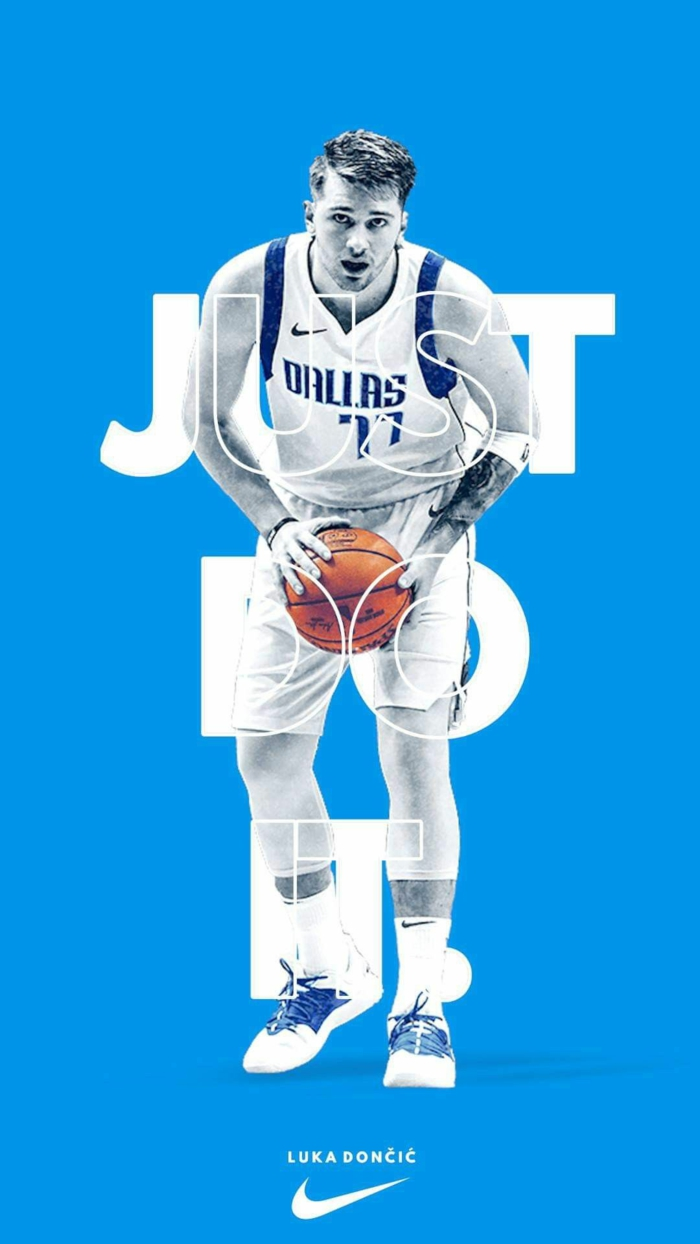 luka doncic, just do it, wearing dallas mavericks uniform, best basketball wallpapers, blue background