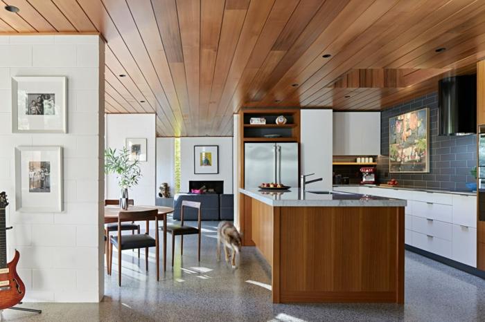 wooden kitchen island, white cabinets, modern kitchen cabinets colors, dark grey tiles backsplash
