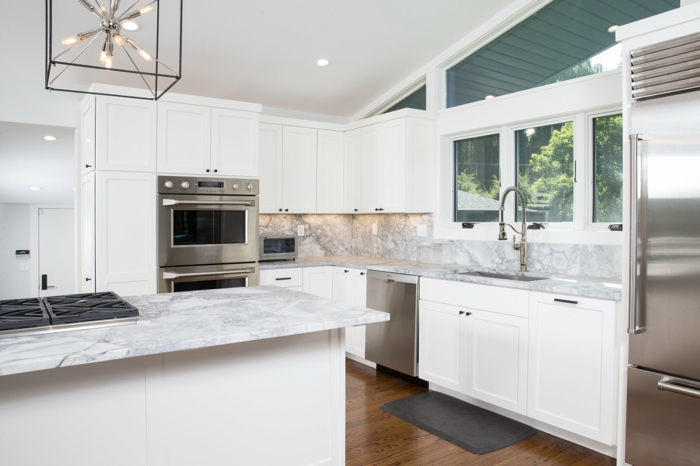white cabinets with marble countertops, modern kitchen cabinets colors, laminated wooden flooring