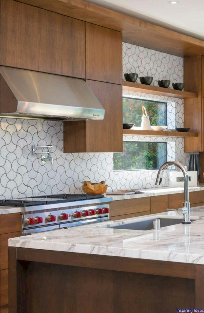 open shelving, modern kitchen cabinets colors, wooden cabinets with marble countertops, black and white backsplash