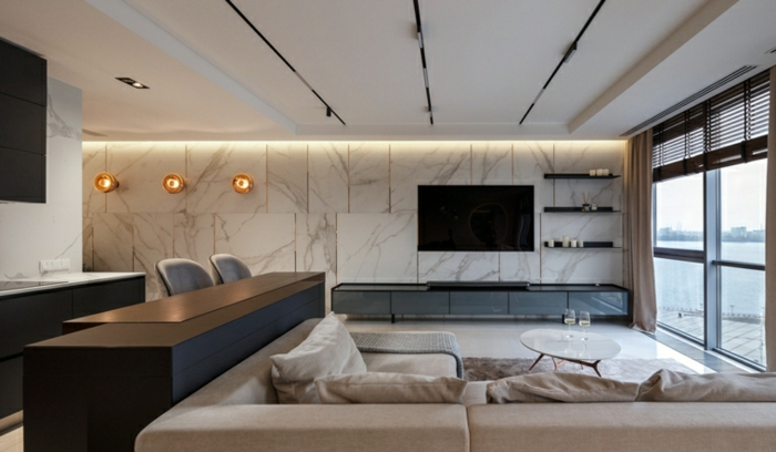 white corner sofa, marble accent wall, home decor ideas for living room, kitchen island, white tiled floor