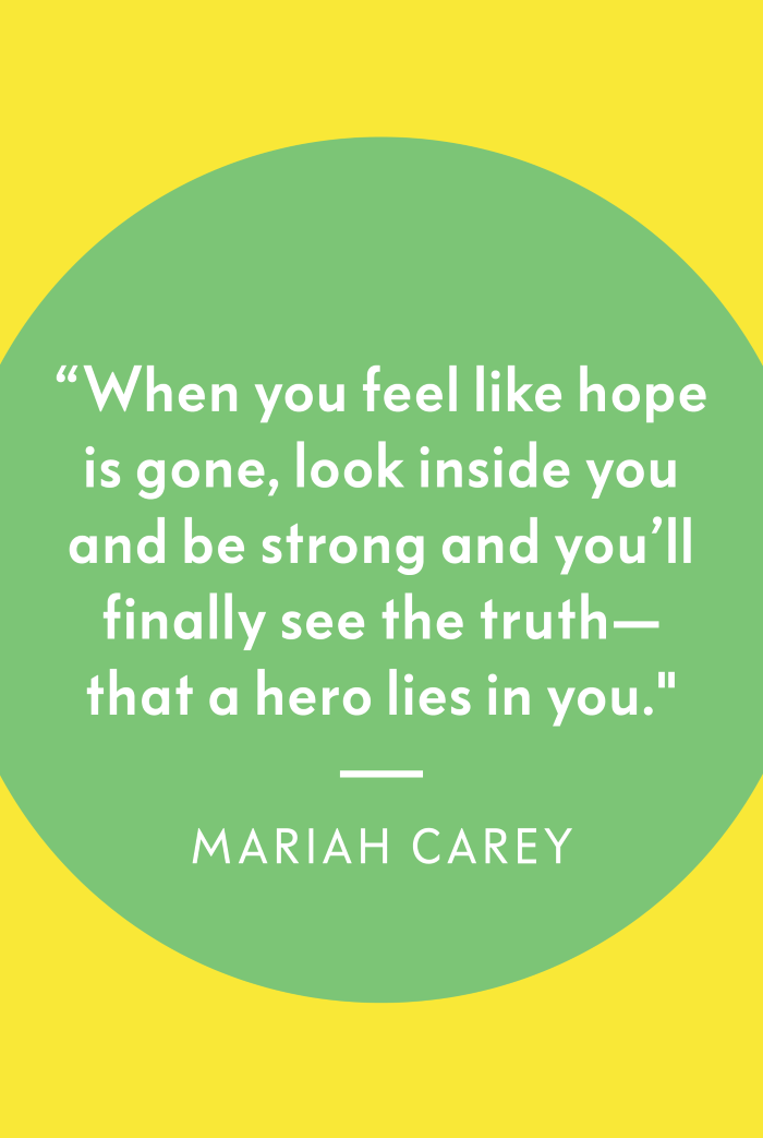 mariah carey quote from the son hero, quotes about getting through tough times, turquoise and yellow background