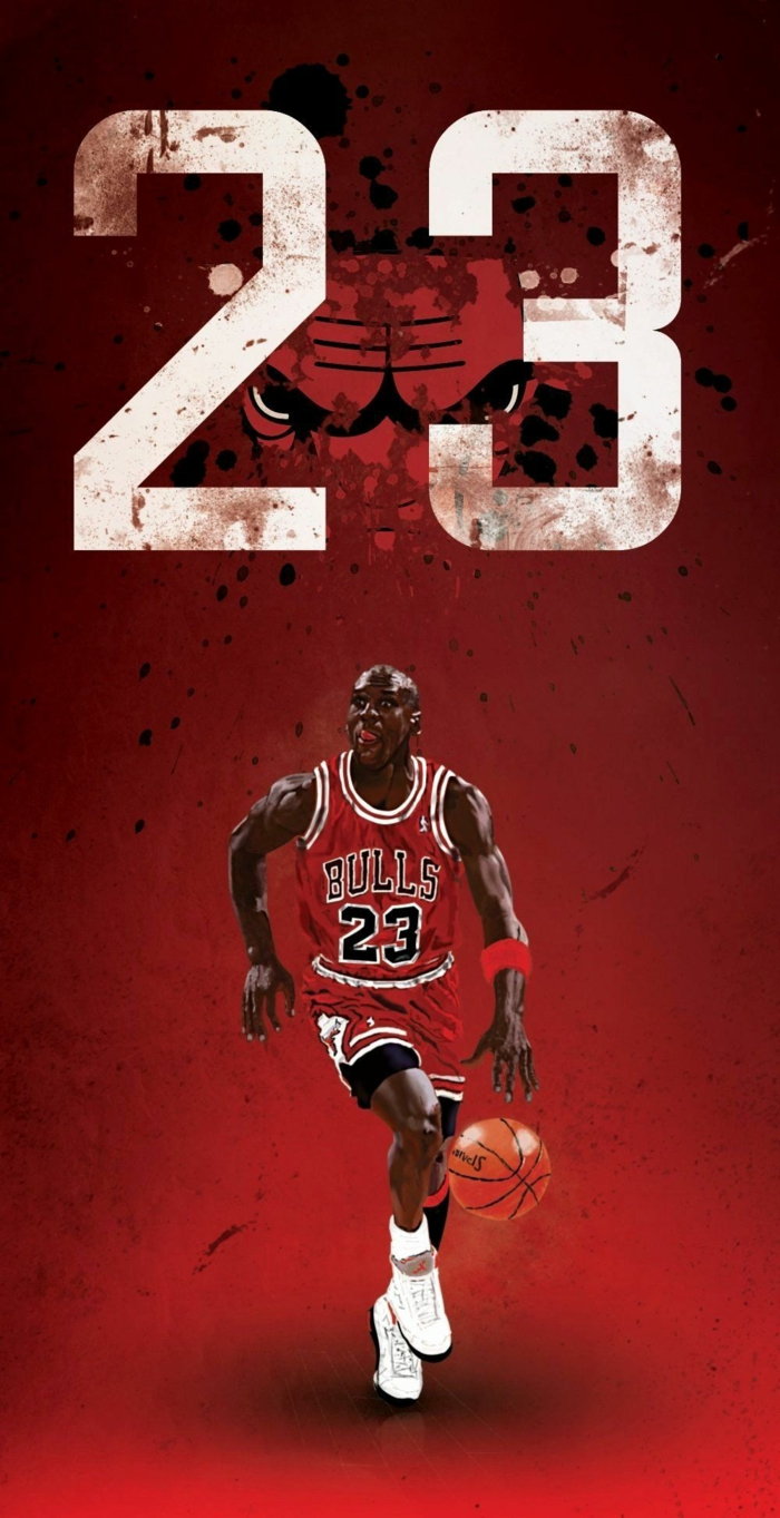 michael jordan, wearing chicago bulls uniform, cool basketball wallpapers, poster with red background