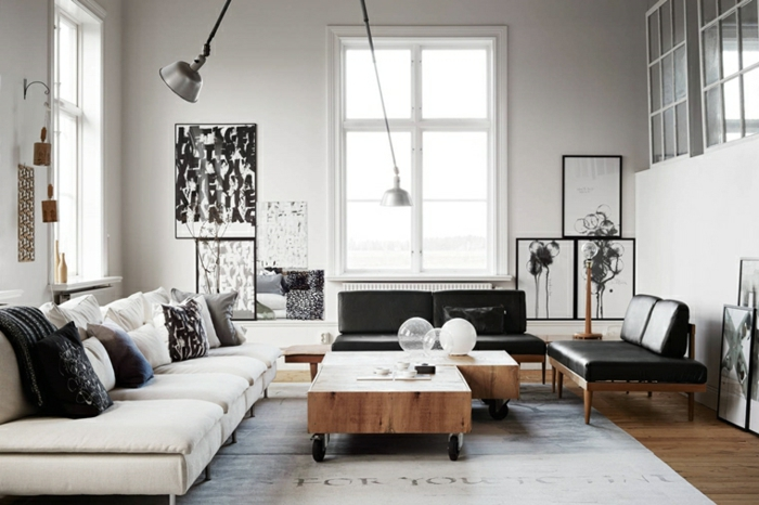 white sofa with throw pillows, how to decorate your living room, black leather sofas, wooden coffee table