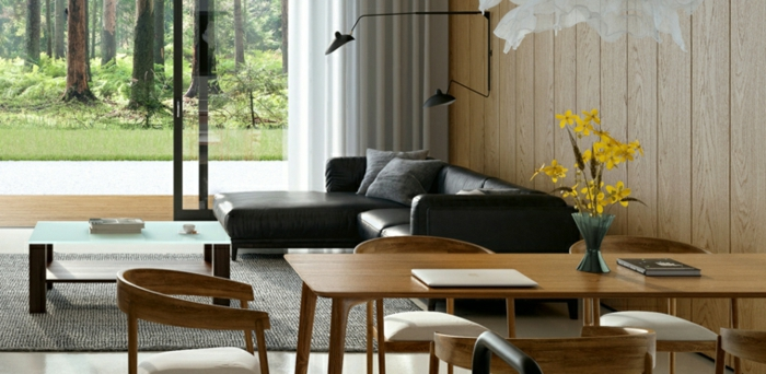 wooden dining table and chairs, black leather corner sofa, home decor ideas for living room