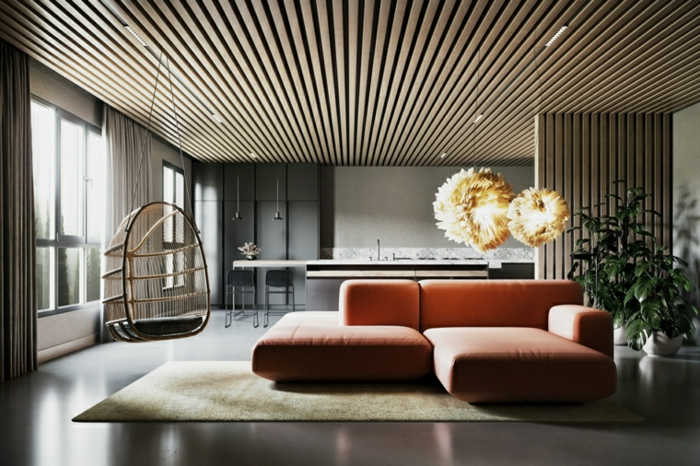 wooden accent on the ceiling, orange corner sofa, contemporary living room ideas, tiled floor with white carpet