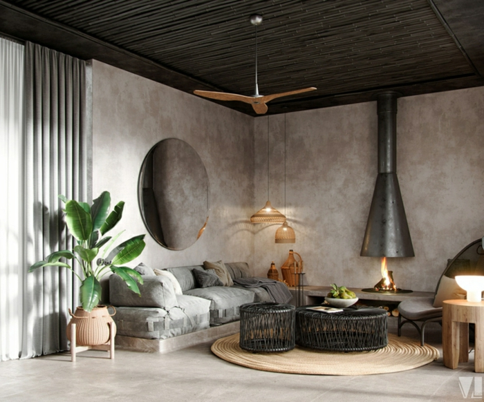 grey walls and floor, decorations ideas for living room, pallet sofa with grey cushions, black round coffee tables