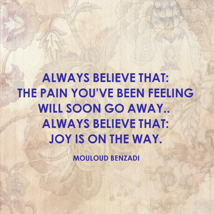 quotes about getting through tough times, mouloud benzadi quote, written with blue letters