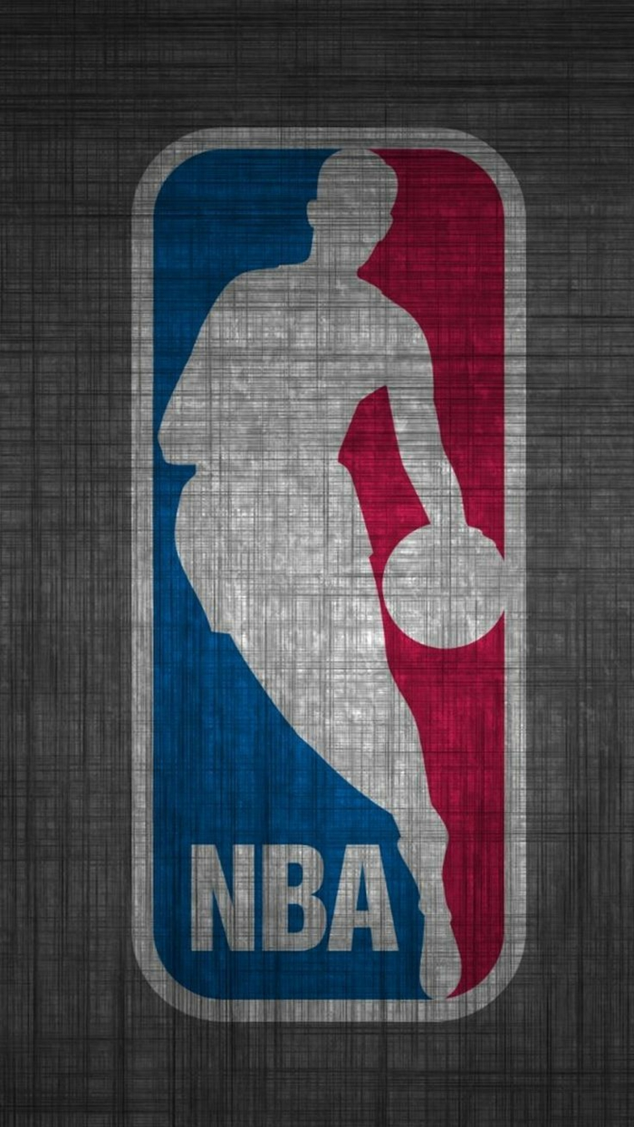 the nba logo, red and blue, grey background, basketball wallpaper