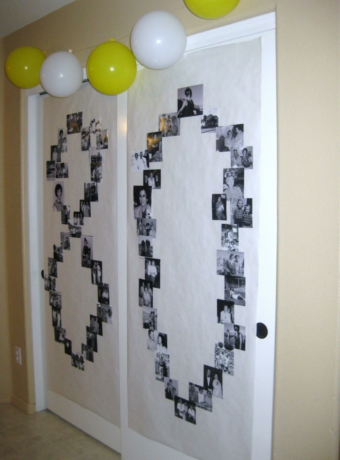 number 80 made with old photos, arranged on white wall, 80th birthday gift ideas for mom, white and yellow balloons hanging