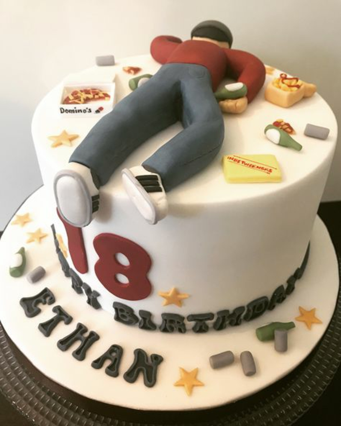 one tier cake, covered with white fondant, surprise party ideas, figurine of a man laying face down, made of fondant on top