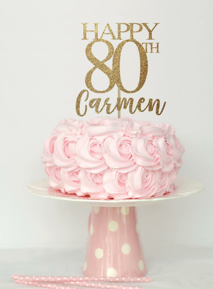 one tier cake, decorated with pink buttercream roses, 80th birthday party decorations, pink cake stand