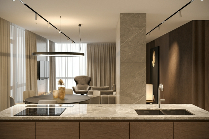 contemporary living room ideas, wooden accent wall, kitchen island with marble countertop, marble column