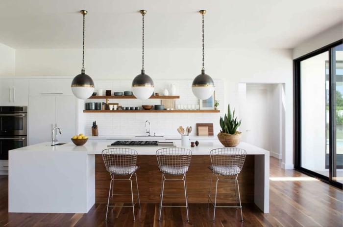 wooden kitchen island, white countertops, mid century kitchen island, open shelving, white backsplash
