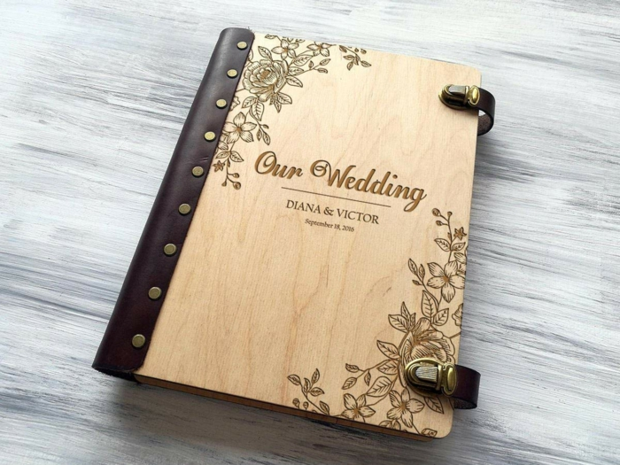 our wedding photo album, anniversary gifts for her, personalised for diana and victor, wooden covers