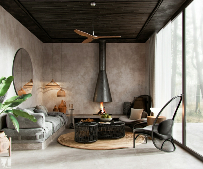 pallet sofa with grey cushions, round black coffee tables, decorations ideas for living room, grey walls