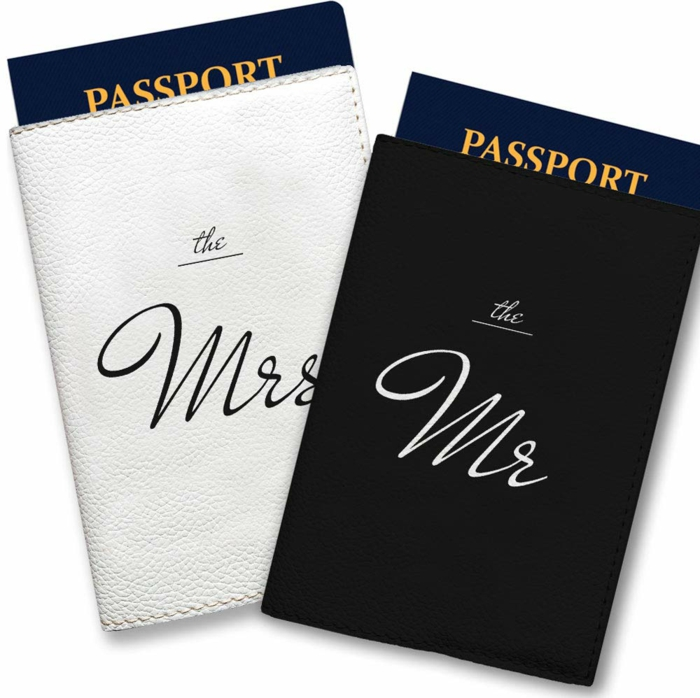 the mrs and the mr, black and white passport covers, white background, 50th anniversary gifts