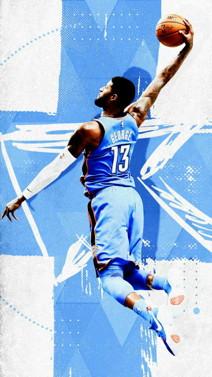 paul george, wearing oklahoma city thunder uniform, dunking the ball, best nba wallpapers