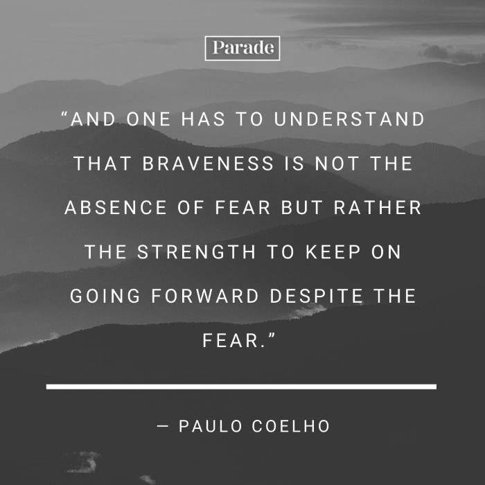 paulo coelho quote, quotes about strength and hope, written with white letters, background photo of foggy mountain