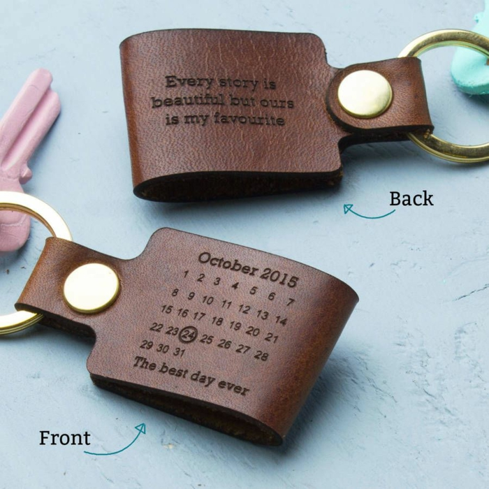 personalised leather key chains, 50th anniversary gifts, every story is beautiful but ours is my favorite, written on them