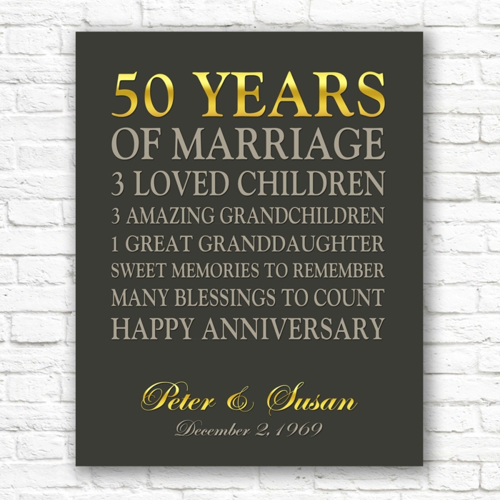 personalised poster for peter and susan, written with gold letters, traditional wedding anniversary gifts, white brick wall