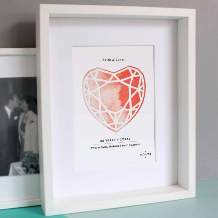 watercolor coral heart, personalised poster for keith and janet, anniversary gift for husband, inside white wooden frame