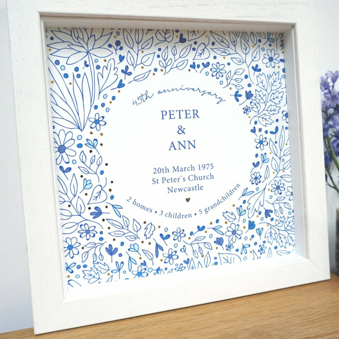 personalised poster for peter and ann, blue flowers drawn on it, traditional wedding anniversary gifts, inside white wooden frame