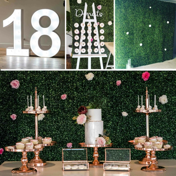 dessert table with cake and cupcakes, things to do on your 18th birthday, green wall backdrop