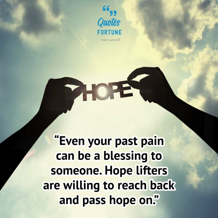 background photo of blue sky, quotes about strength and hope, two hands holding word hope