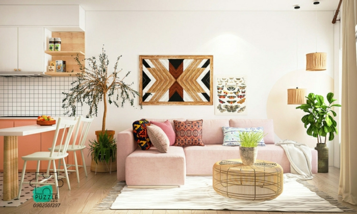 pink corner sofa with colorful throw pillows, modern living room, wooden round coffee table