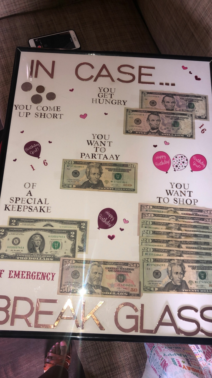 in case of emergency break glass, fun poster, things to do on your 18th birthday, money behind the glass