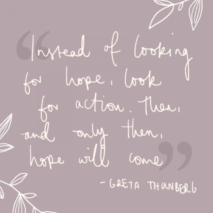 quote by greta thunberg, written with white cursive letters, quotes about strength and hope, purple background