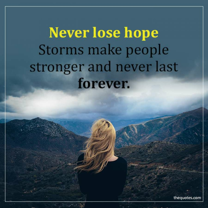 background photo of a blonde woman, losing hope quotes, written with black and yellow letters, mountain landscape