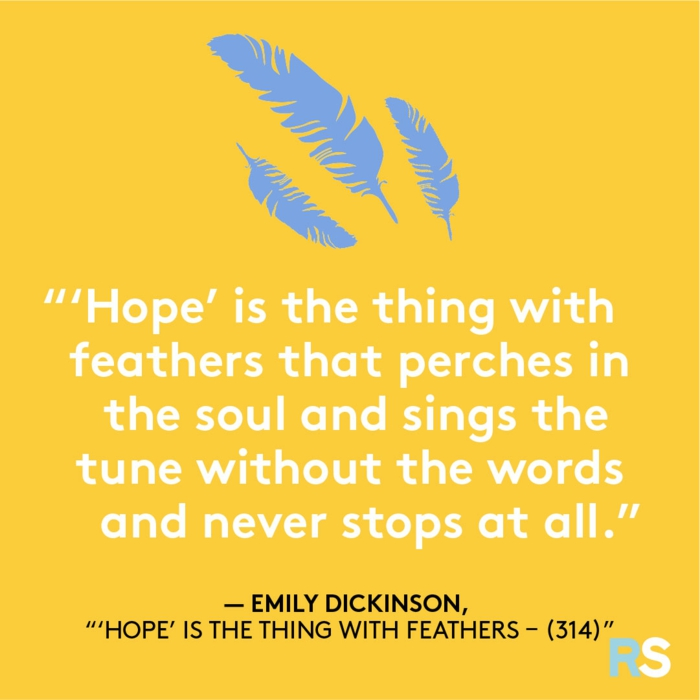 emily dickinson quote, losing hope quotes, yellow background with three blue feathers, white letters