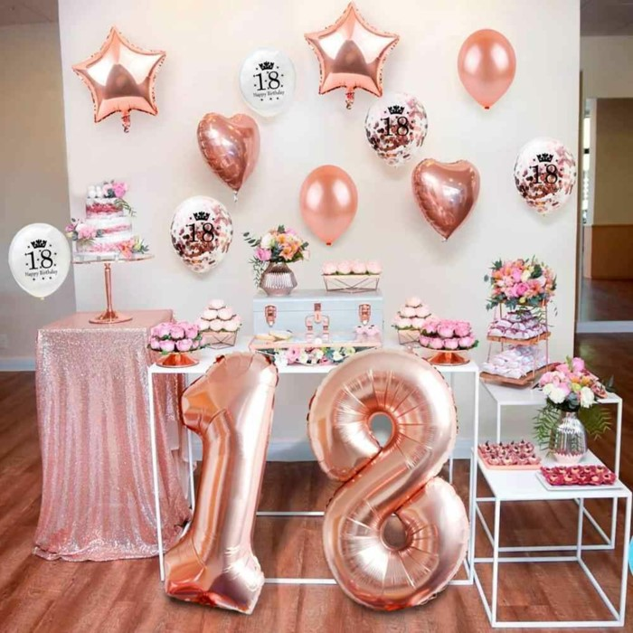 rose gold decor, rose gold number 18 balloons, 18th birthday ideas for girls, desserts table with flower bouquets